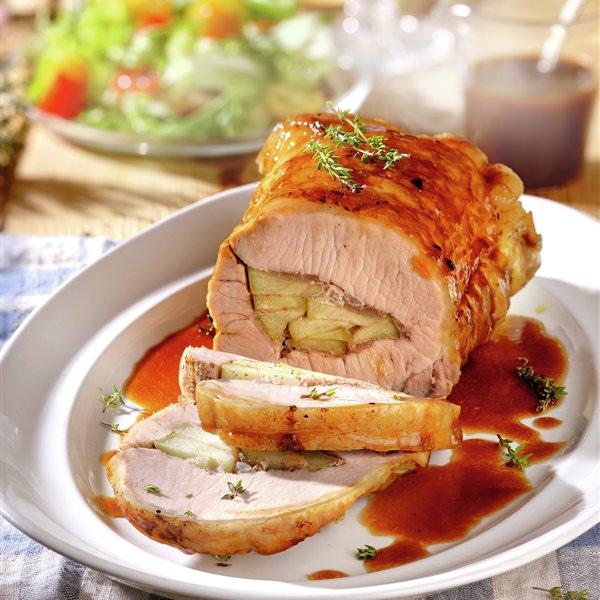 Lomo de cerdo relleno de manzana
