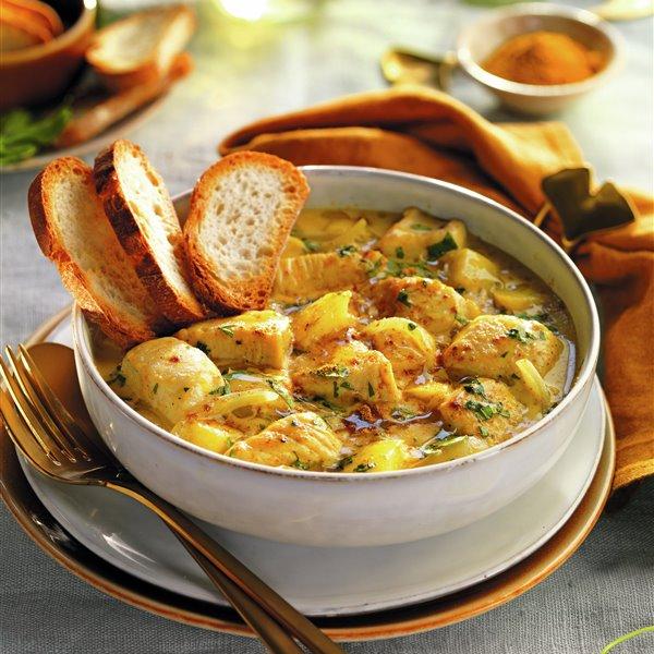 Pollo al curry con manzana