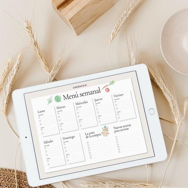 Planifica tus comidas: plantilla para tus menús semanales