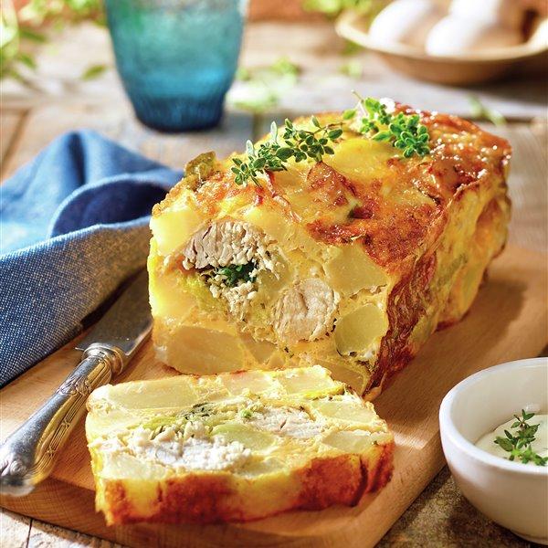 Plumcake de tortilla de patata y puerro con pollo