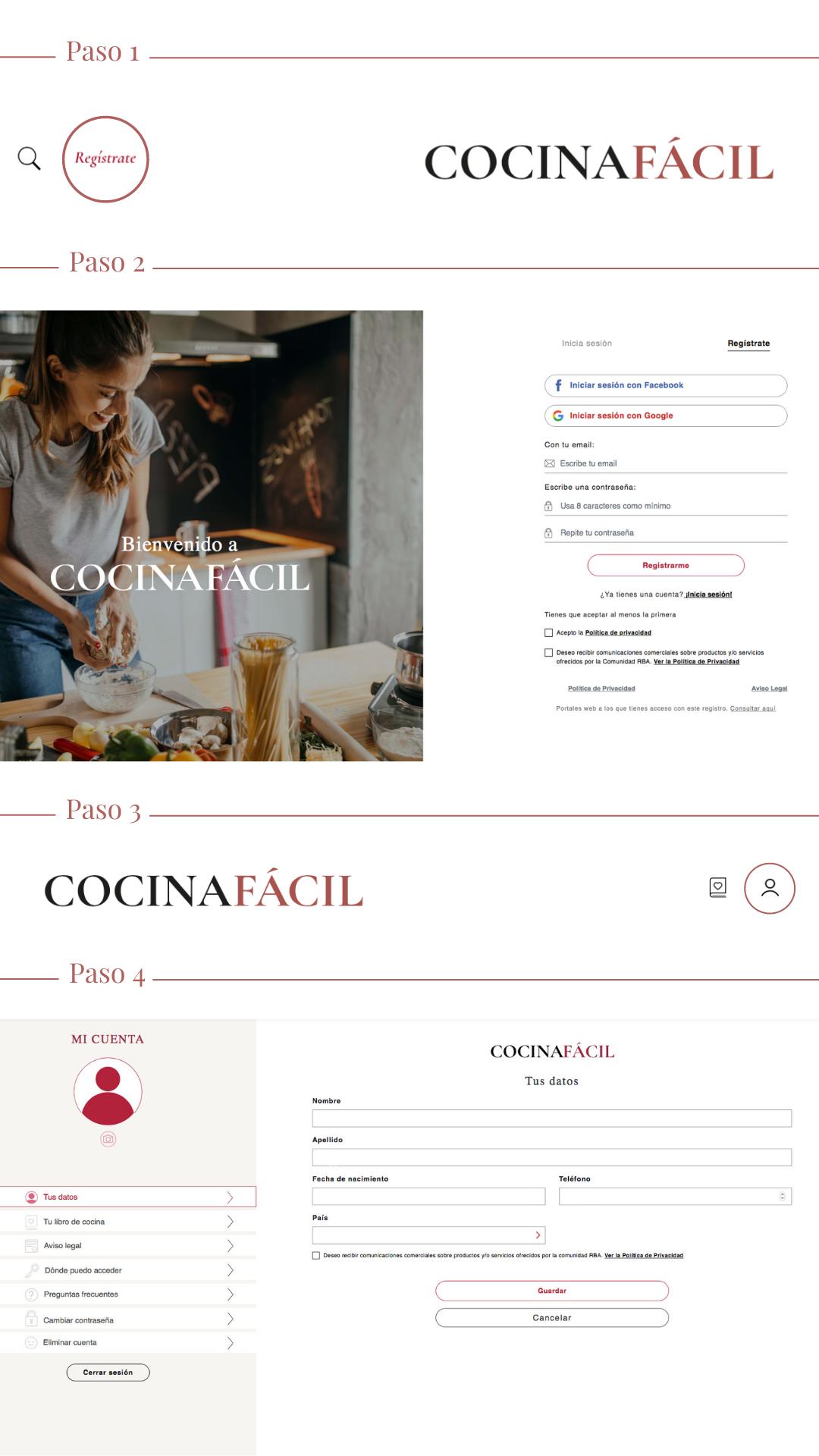 Cómo registrarte Cocina Fácil