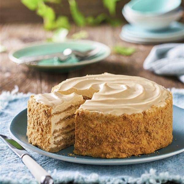Tarta de tortitas con crema de queso y miel