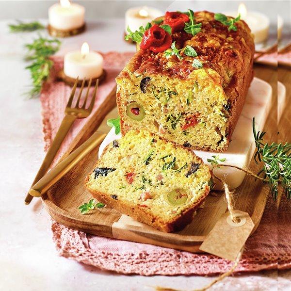 Cake de verduras, olivas y bacon