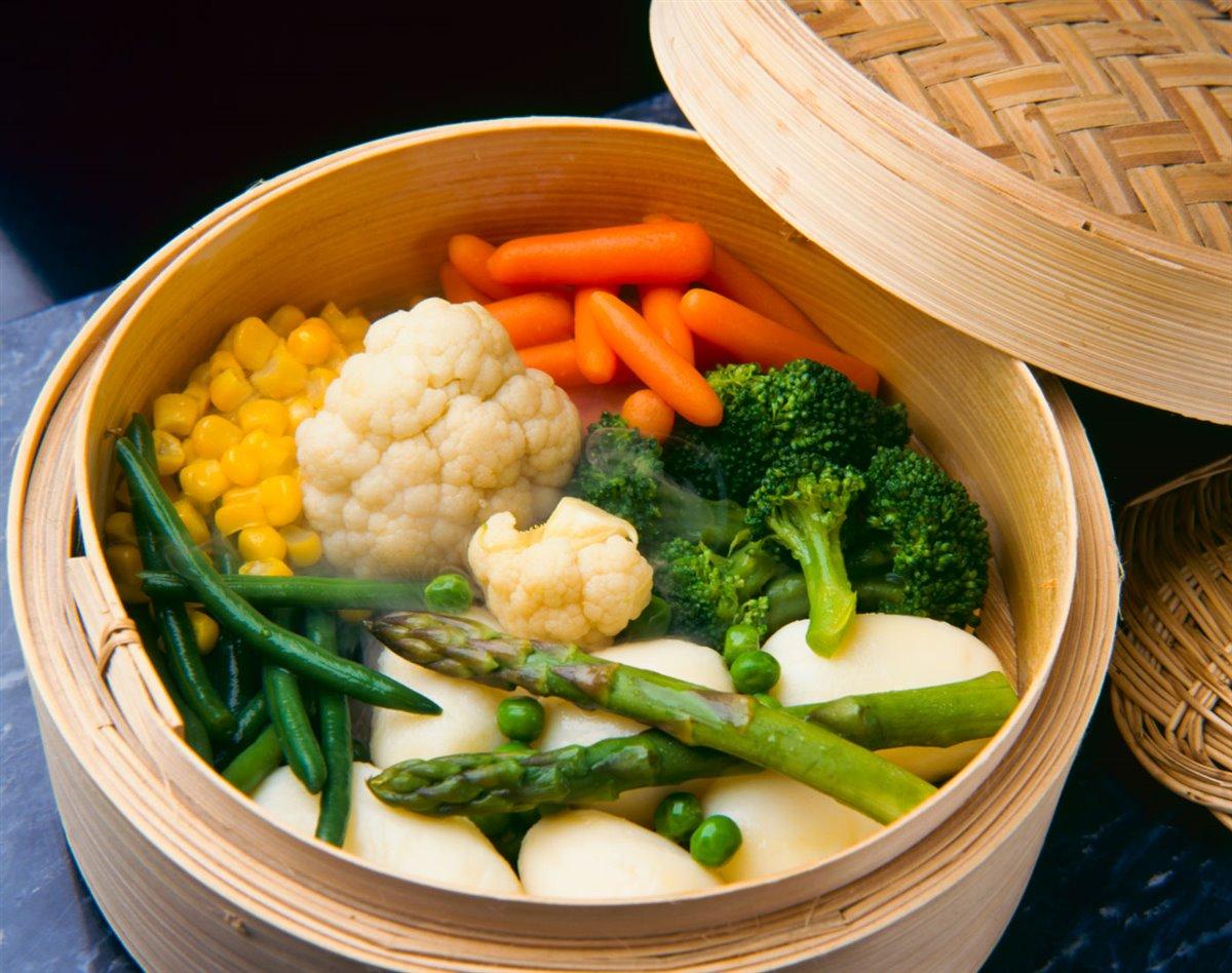 Verduras al vapor bambu