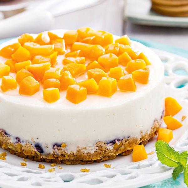 Tarta de queso crema y melocotón