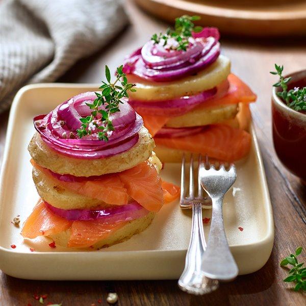 Timbal de patata y salmón