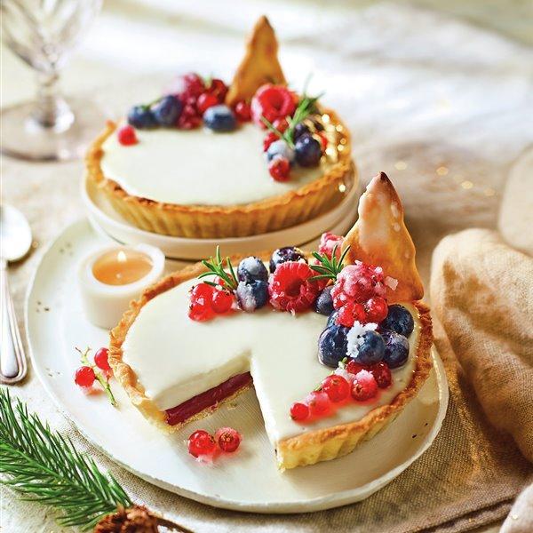 Tartaletas de chocolate blanco y arándanos